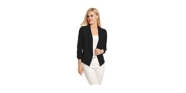 POGTMM Women 3/4 Sleeve Blazer Open Front Cardigan Jacket Work Office Blazer
