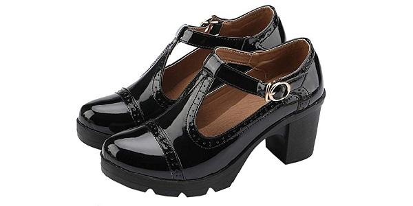 DADAWEN Women's Classic T-Strap Platform Mid-Heel Square Toe Oxfords Dress Shoes