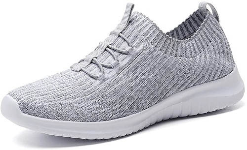 TIOSEBON Women's Lightweight Casual Walking Athletic Shoes Breathable Running Slip-On Sneakers 7.5 US Gray